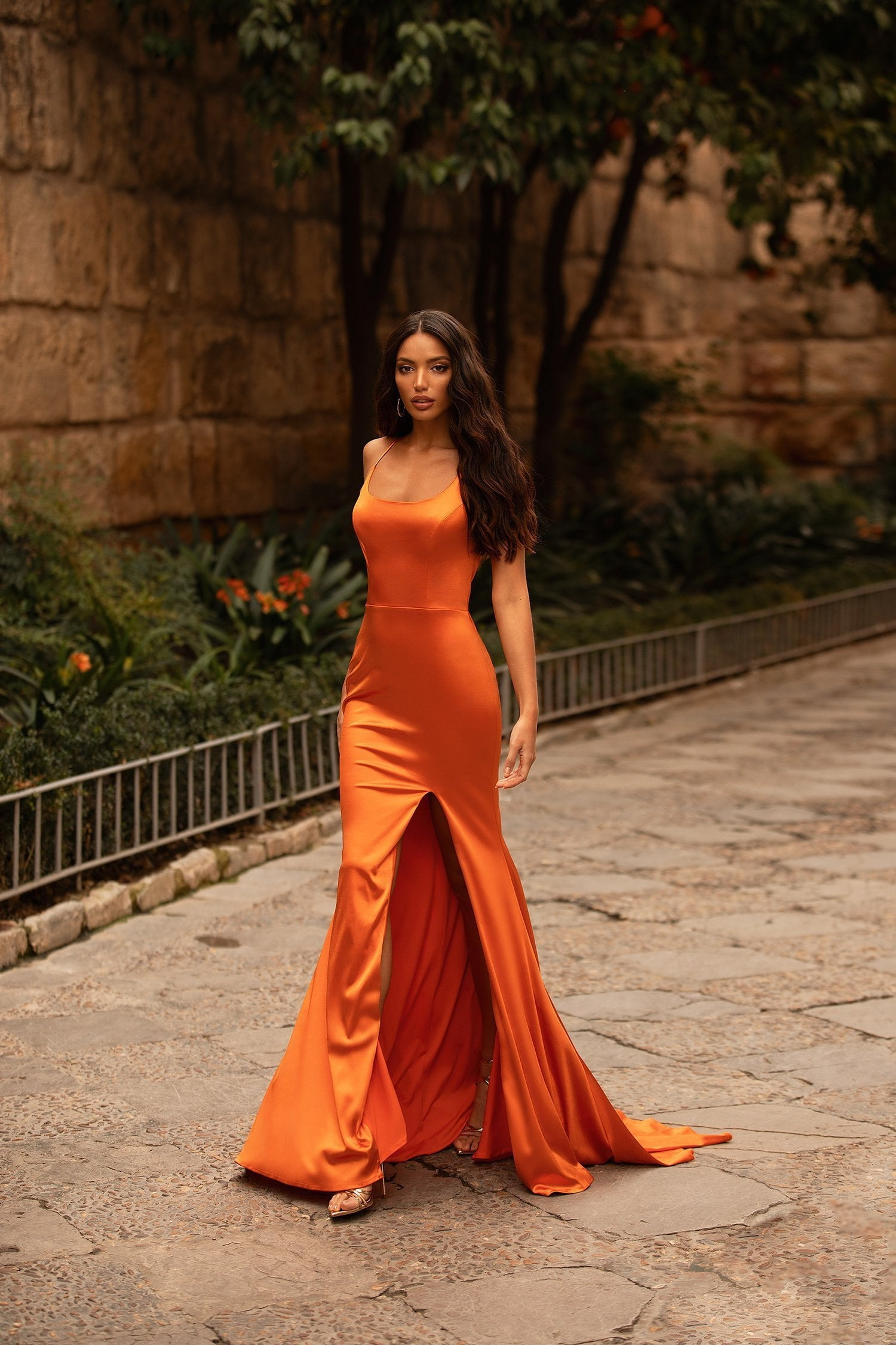 Emilita - Orange Satin Mermaid Gown with Scoop Neck & Side Slit