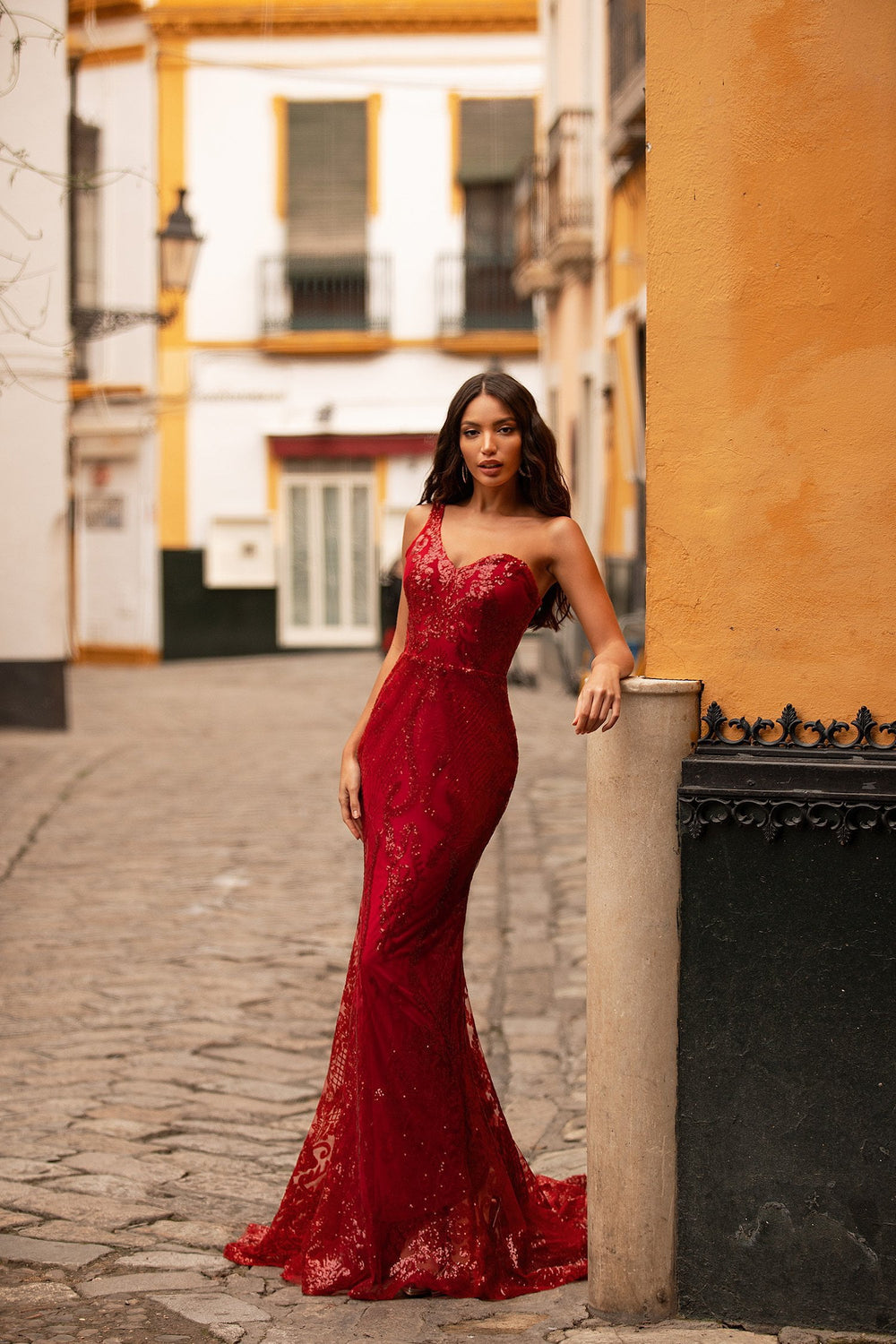 Florencita - Deep Red One-Shoulder Sequin Gown with Mermaid Train