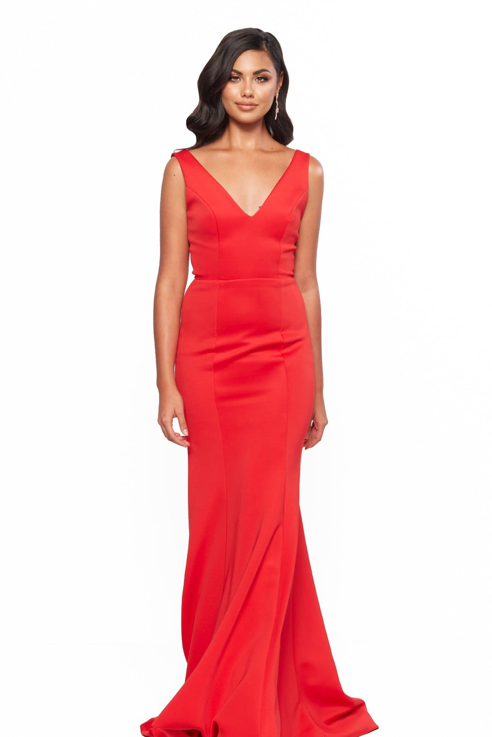 A&N Bridesmaids Makayla V-Neck Low Back Mermaid Gown - Red