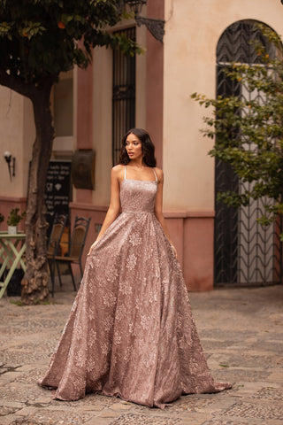 Georgina - Mauve Lace A-Line Gown with Lace-Up Back & Side Slit
