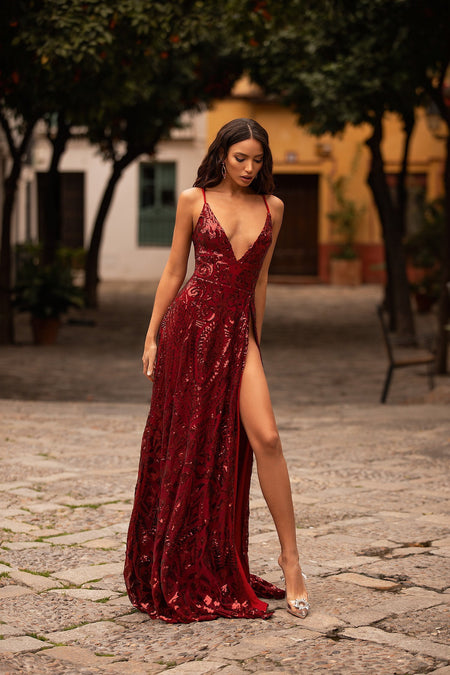 Lusila Satin Gown - Burgundy