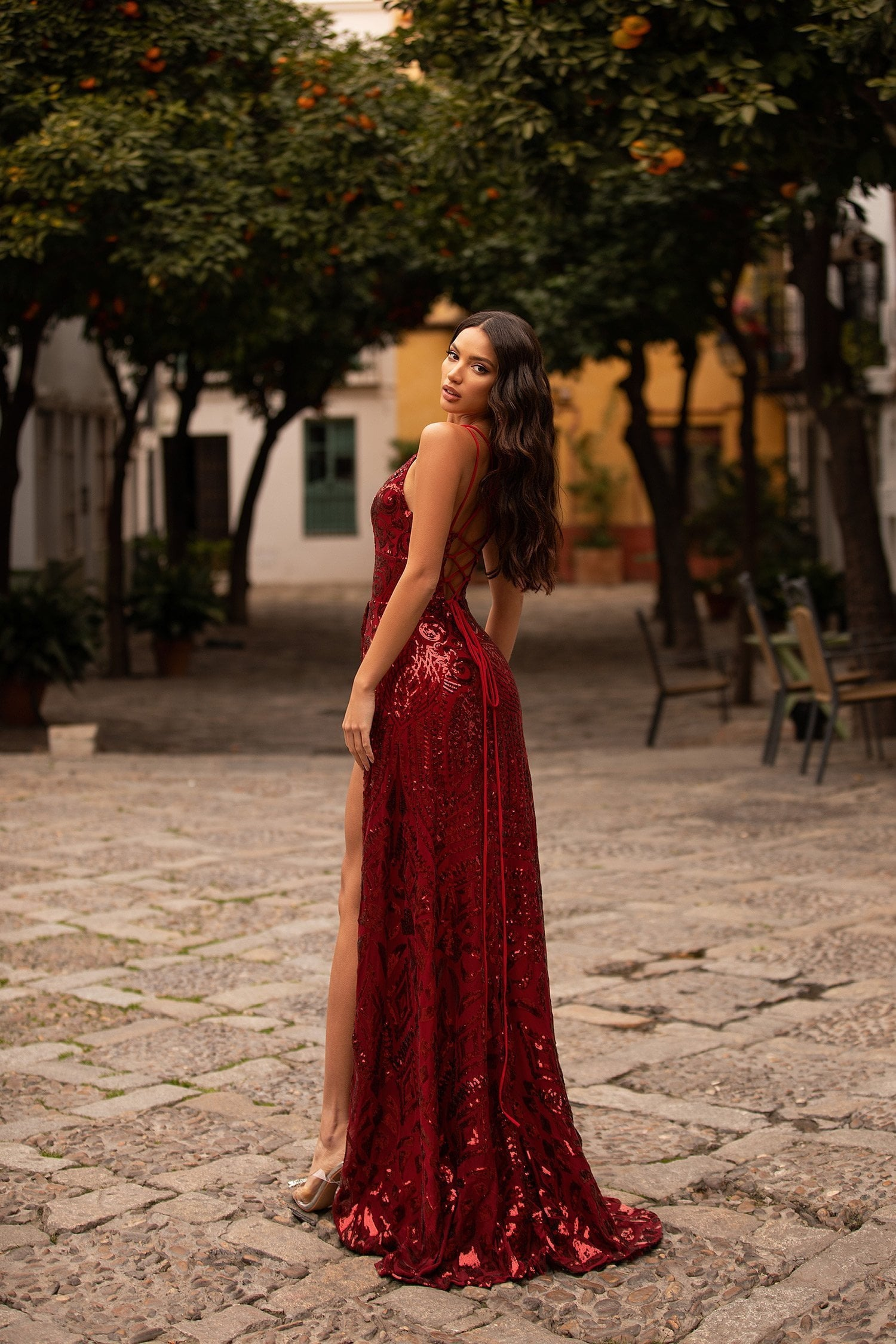 Celestia - Burgundy Sequin Gown with Lace-Up Back & Side Slit