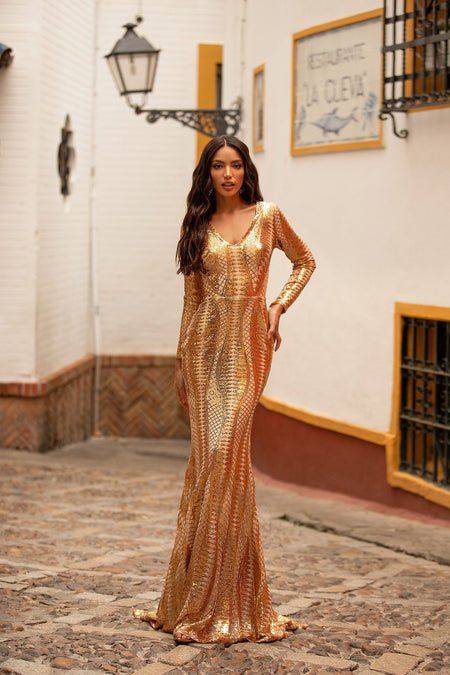 A&N Curve Kara Sequin Gown - Gold