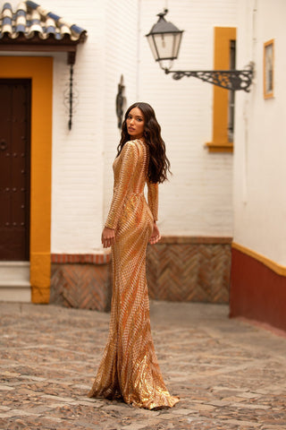 Madena - Gold Long Sleeve Patterned Sequin Gown with V-Neckline