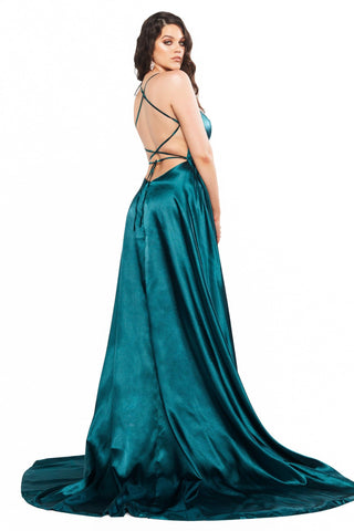 A&N Curve Bianca Satin Gown with Lace-Up Back & Side Slit - Teal