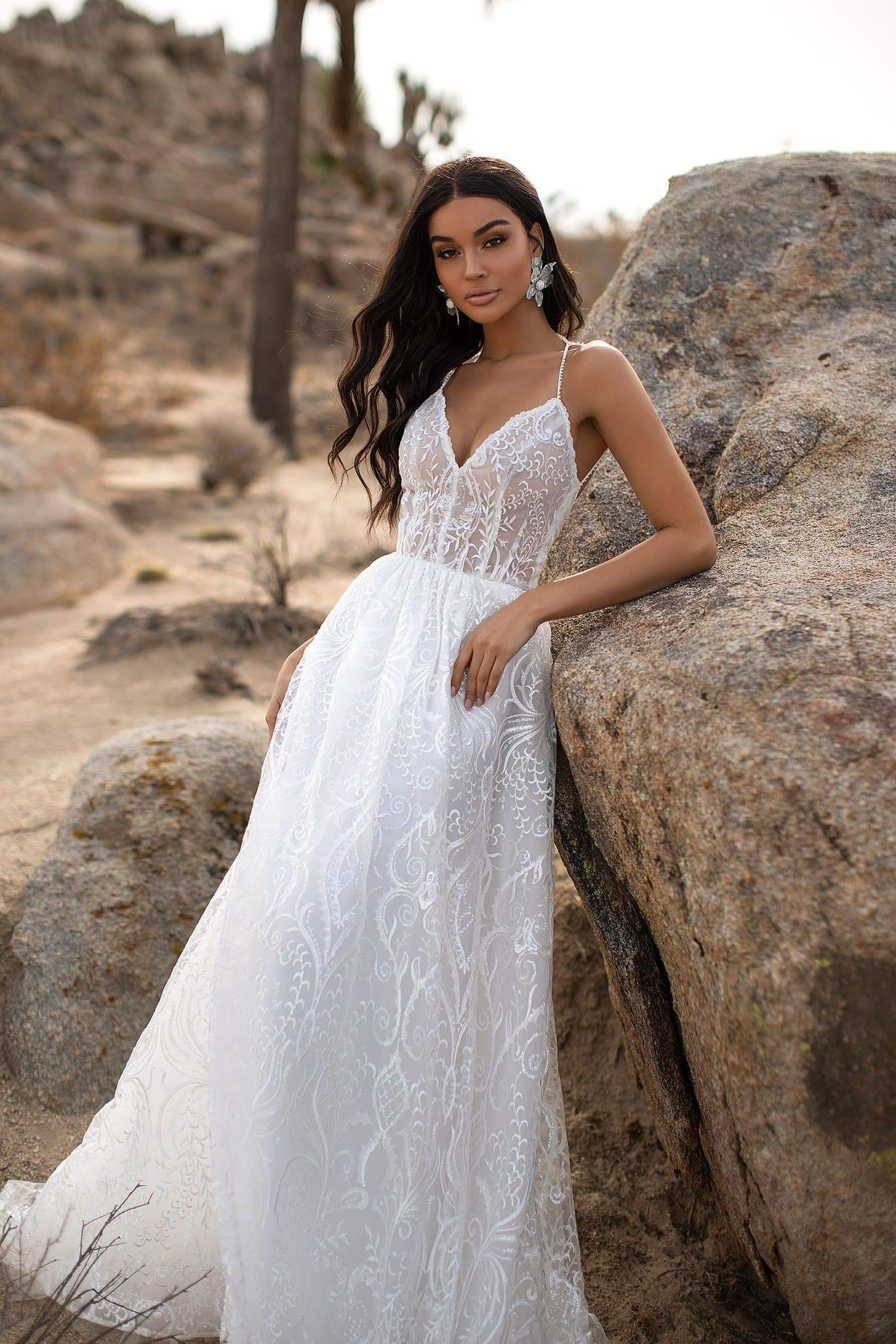 A&N Isla - White Patterned Lace & Tulle Bridal Gown with Lace-Up Back