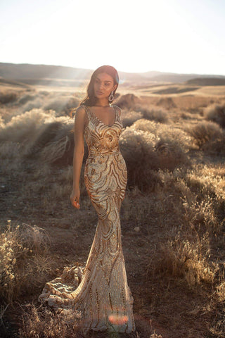 A&N Luxe Kimora - Gold Sequin Mermaid Gown with V-neck & Low Back