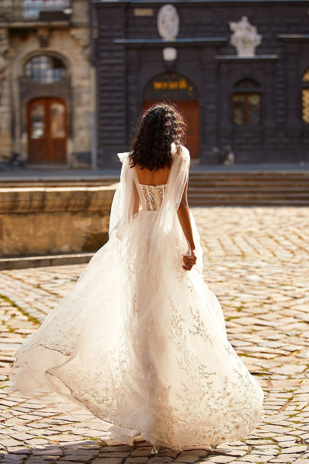 A&N Cyrene - White Boho Bridal Gown with Structured  Floral Bustier