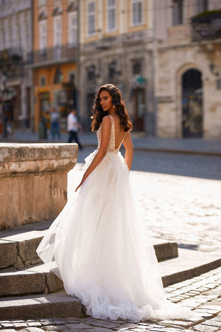 A&N Cecile - White & Silver Appliqué Boho Bridal Gown With Slit