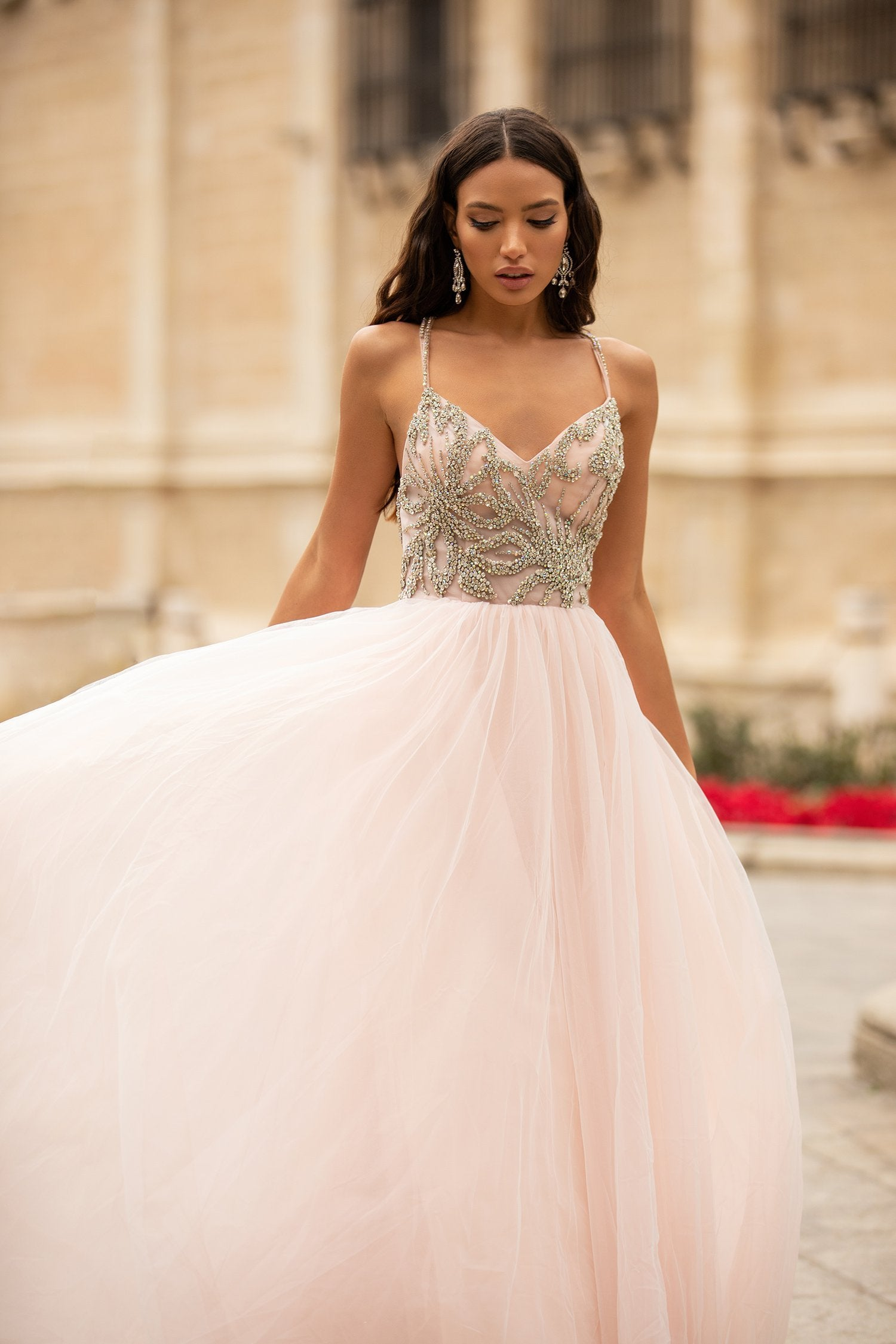 Litzy - Baby Pink Beaded A-Line Tulle Gown with Open Back