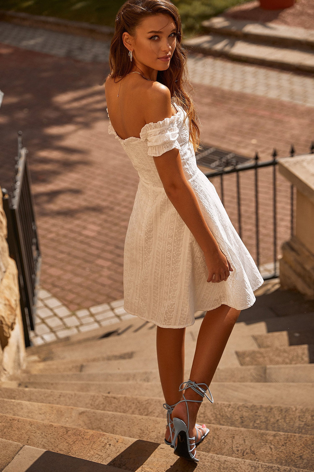 Marisha - White Lace A-Line Mini Dress with Off-Shoulder Sleeves