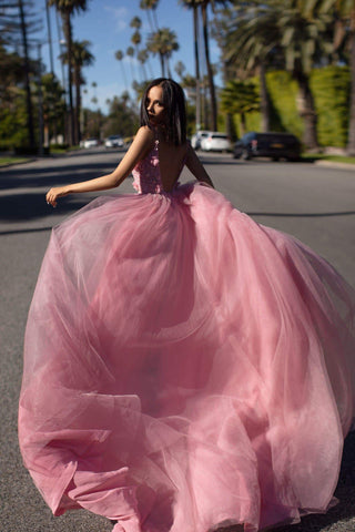 A&N Jalicia Gown - Dusty Pink Beaded Tulle  Prom & Evening Formal Gown