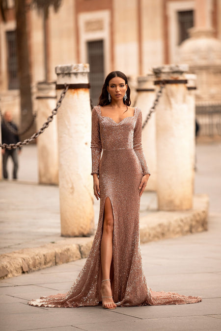A&N Curve Kylie Sequin Gown - Rose Gold