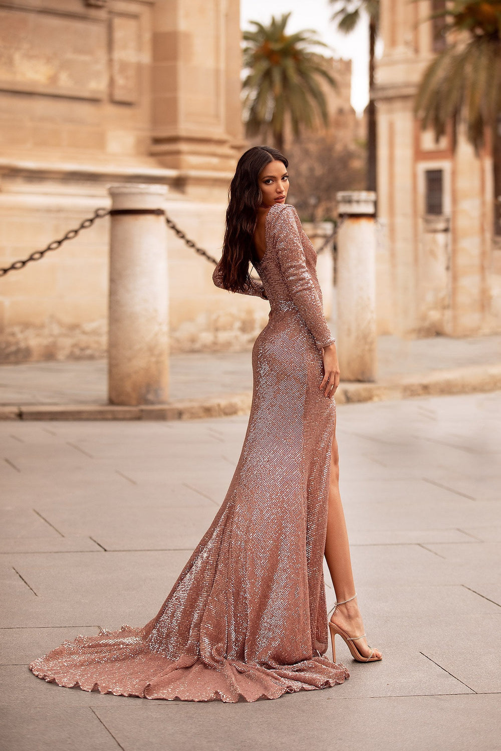Leonita - Rose Gold Long Sleeve Sequin Gown with Side Slit & Train