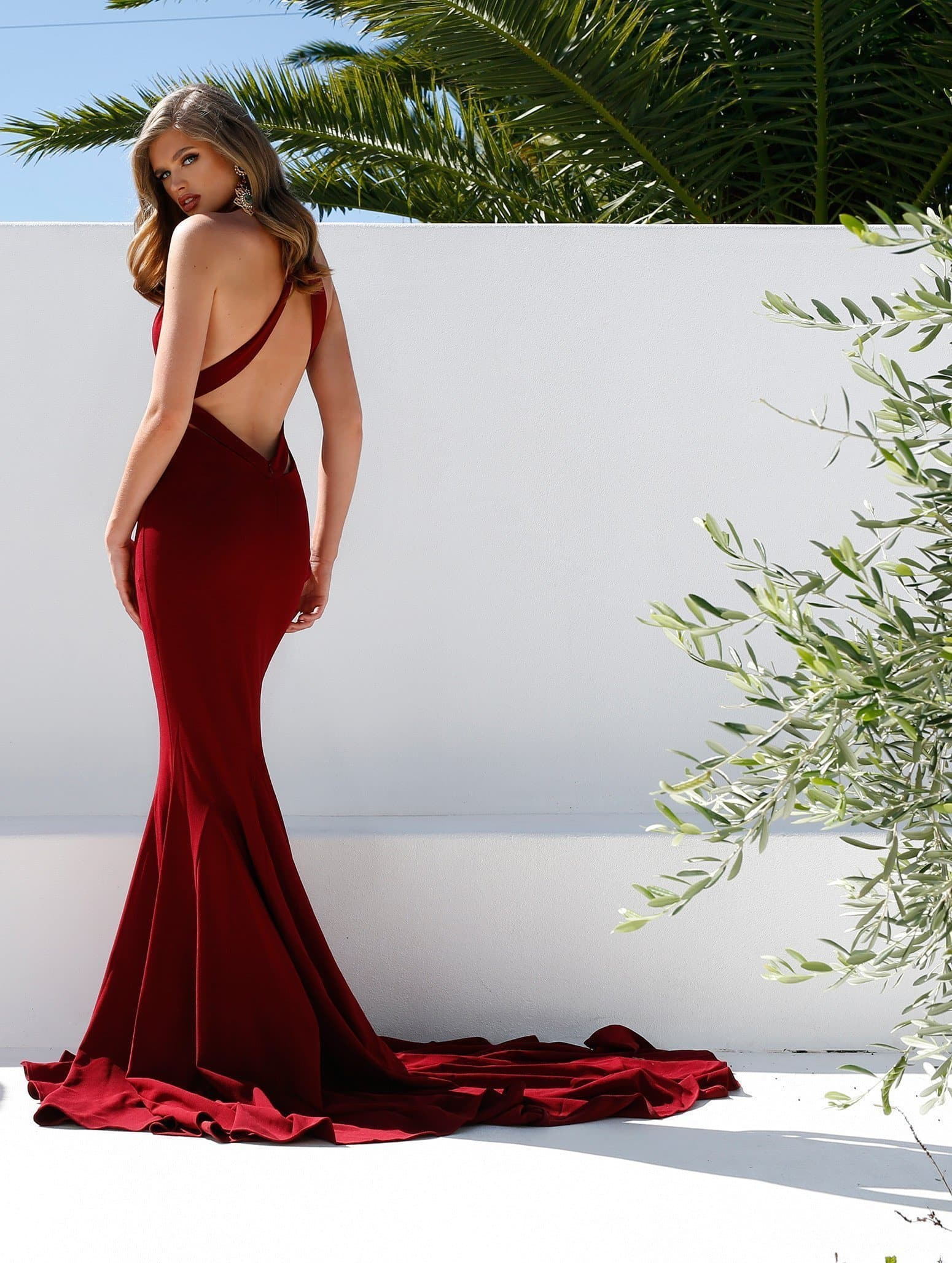 Ella - Low Back Burgundy Crepe Gown with Mermaid Train & V Neckline