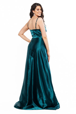 A&N Curve Emma Satin Sleeveless Gown with Slit - Teal