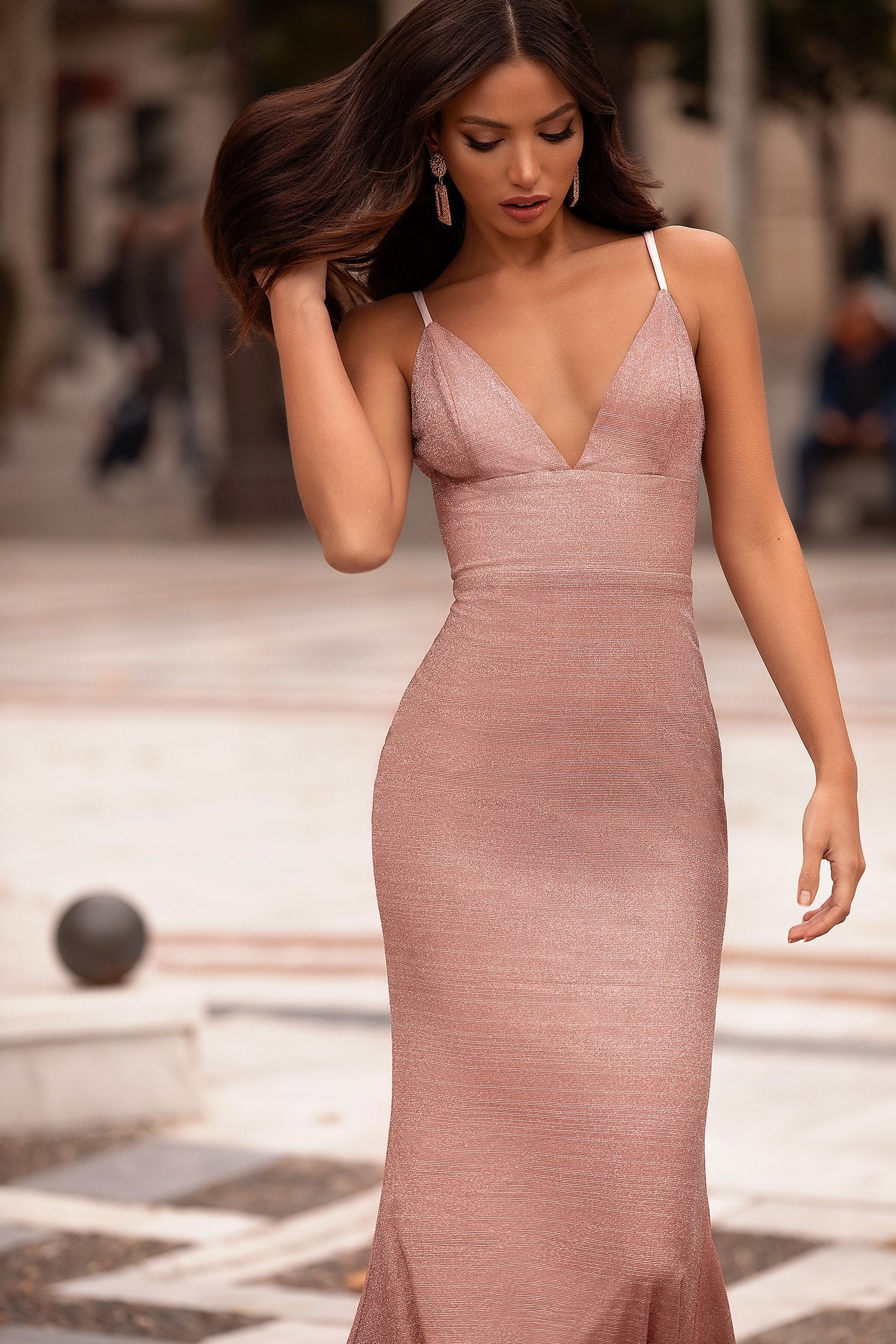 Alisha - Dusty Pink Shimmering Lurex Gown with Deep V-Neckline