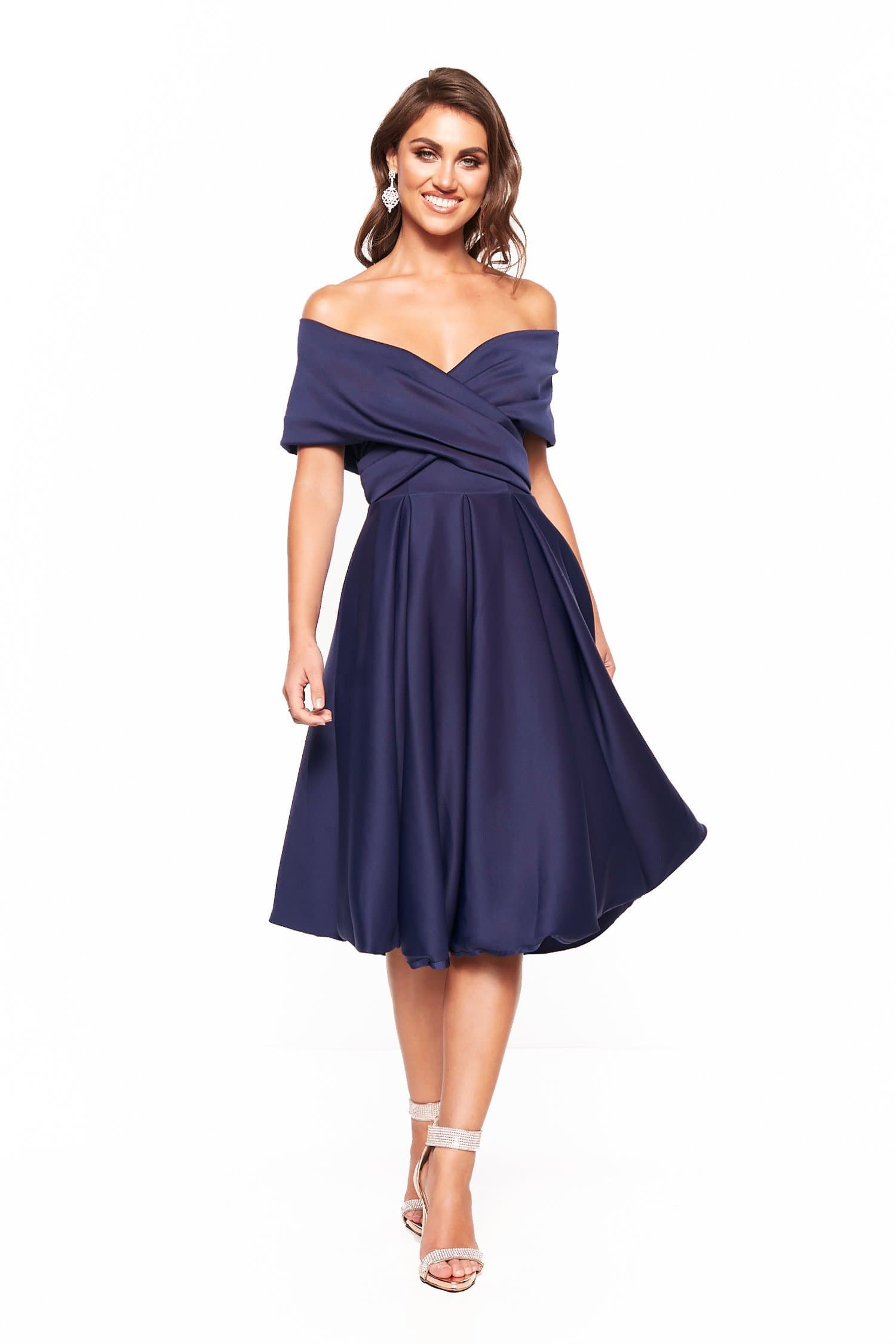 48bb42f3 A&N Elyse Flowing Off-Shoulder Cocktail Dress - Navy – A&N Luxe Label
