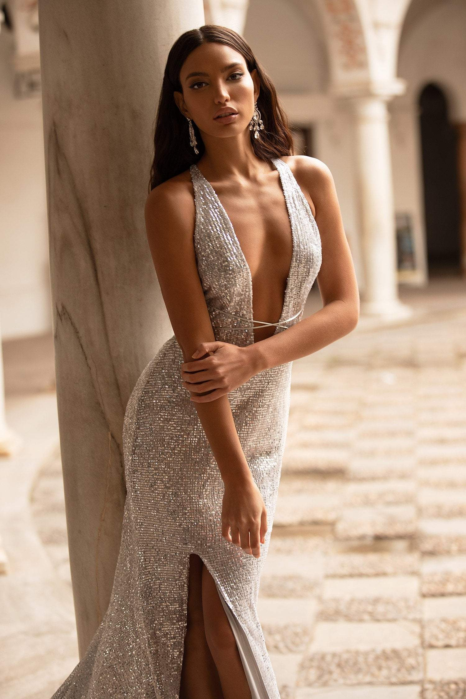 Lili Sequin Gown - Silver