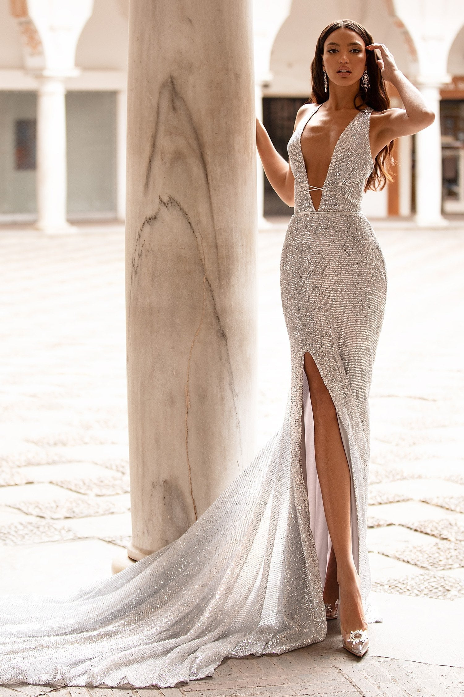 Lili - Silver Sequin Gown with Plunge Neck, Lace-Up Back, Slit & Train
