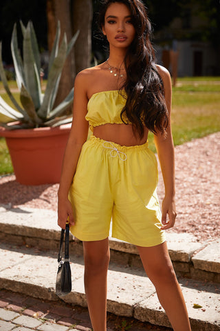 Sana Set - Yellow Two Piece with Knee Length Shorts & Cropped Top