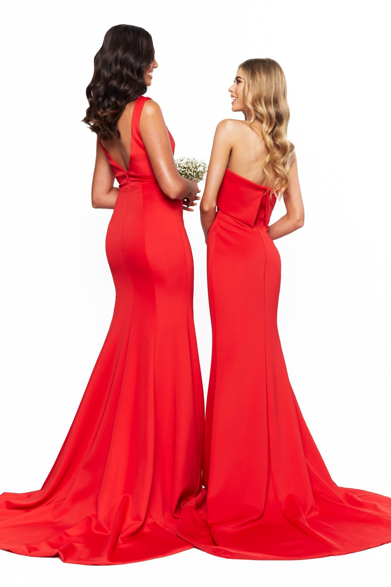 A&N Bridesmaids Lola Strapless Mermaid Gown With Train - Red