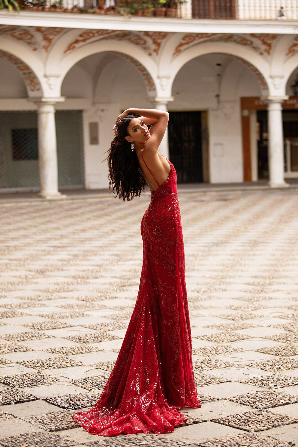 Rendira - Deep Red Backless Sequin Gown with V-Neck & Thin Straps