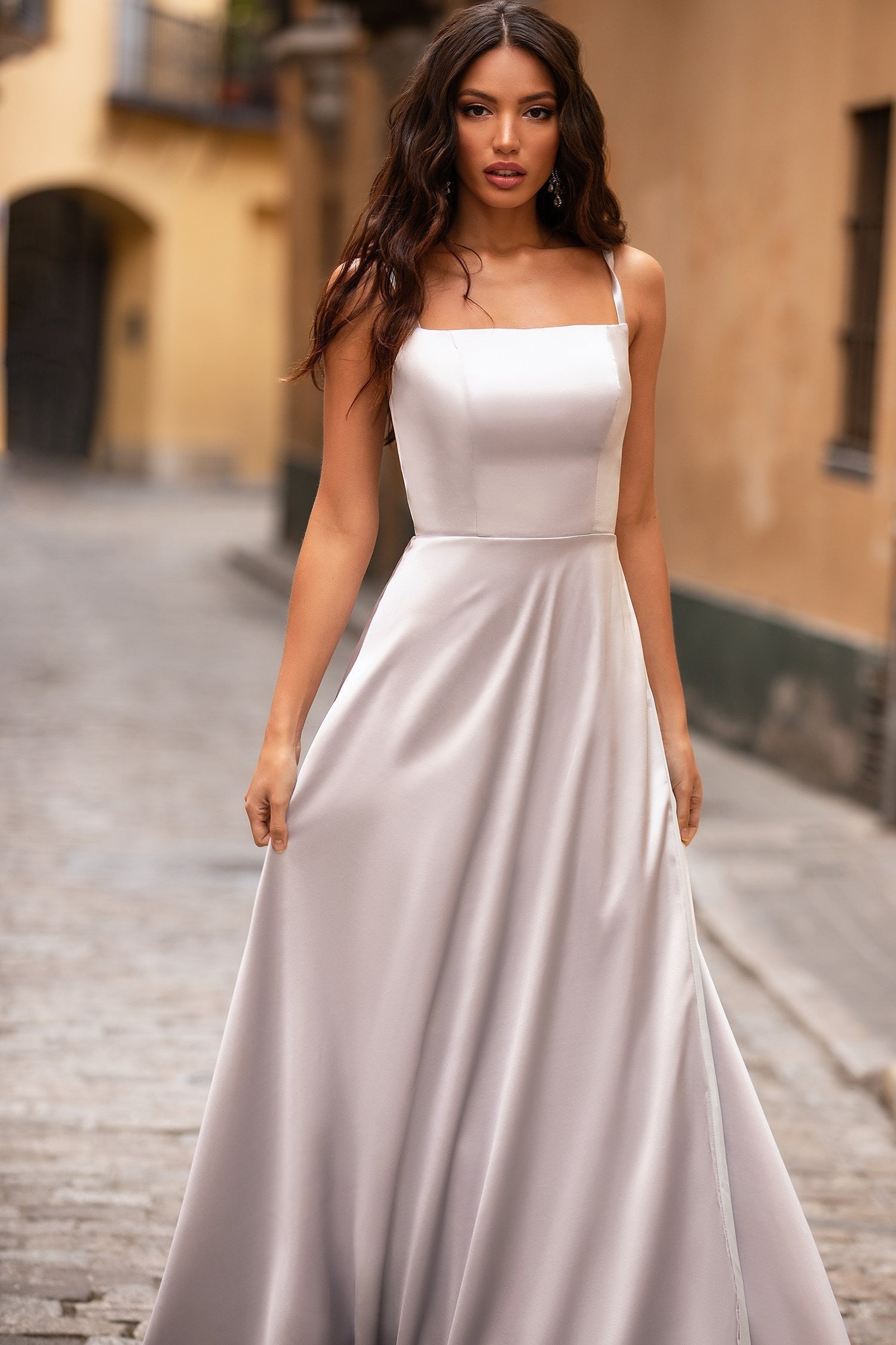 Madia - Ice Grey Satin A-Line Gown with Straight Neckline & Slit