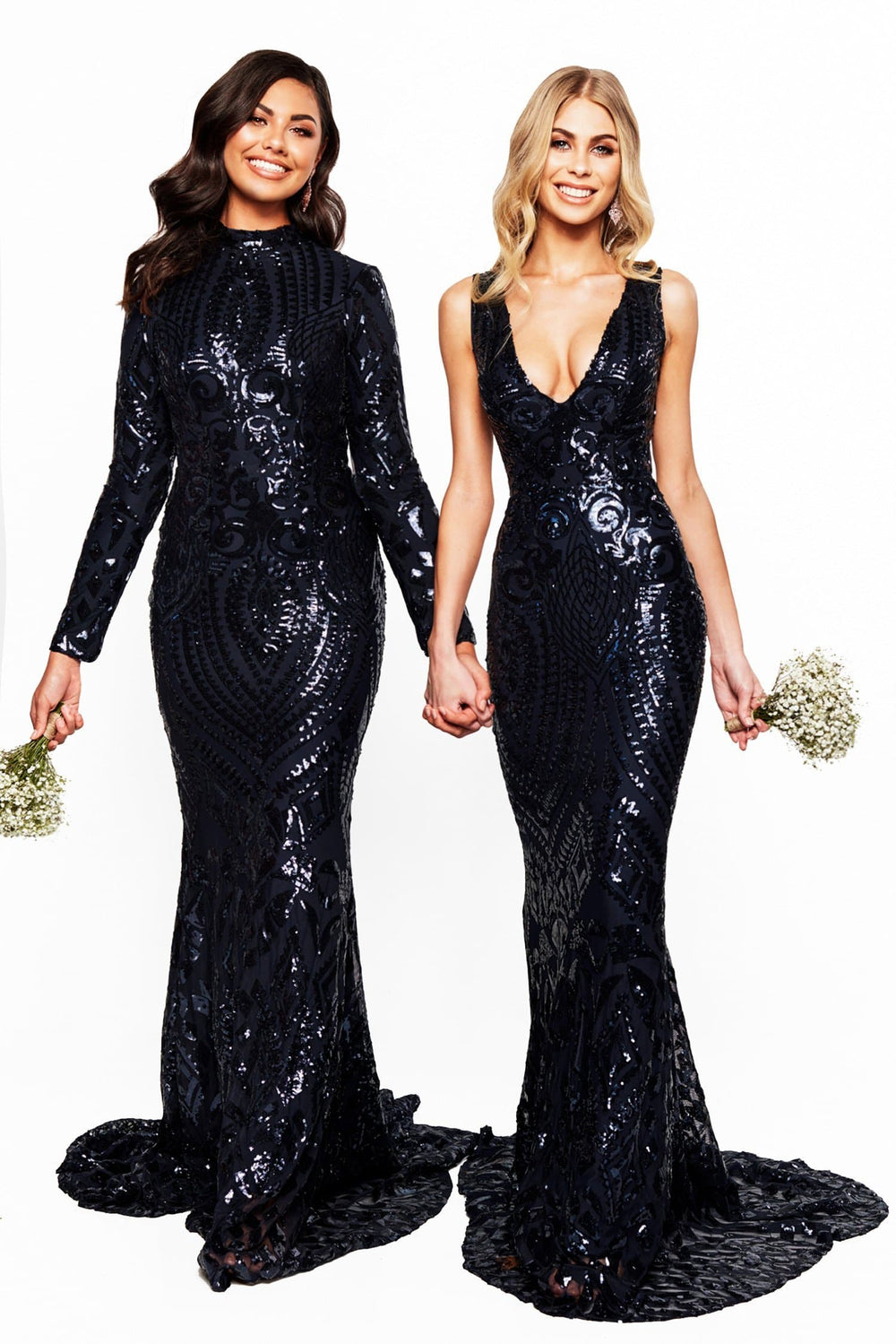A&N Bridesmaids Crown - Navy Sequin Gown with Plunge Neck & Open Back