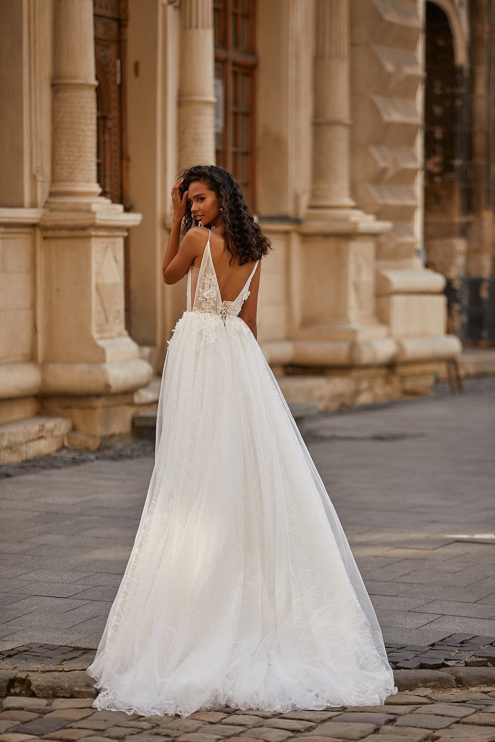 A&N Sian - White Embellished Boho Bridal Gown with Slit & Plunge Neck