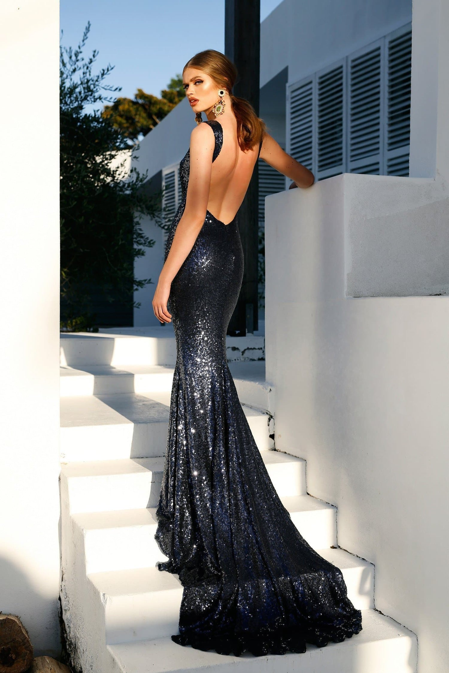 Stone - Rich Navy Backless Sequin Gown | High Neckline & Mermaid Train