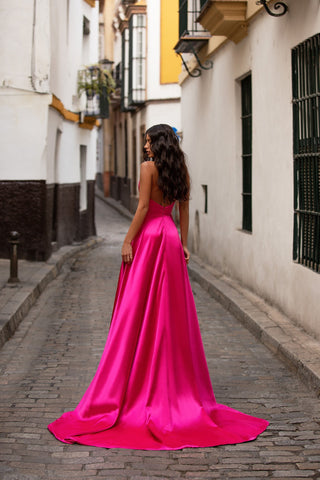 Norita - Fuchsia Strapless Satin A-Line Gown with Straight Neckline