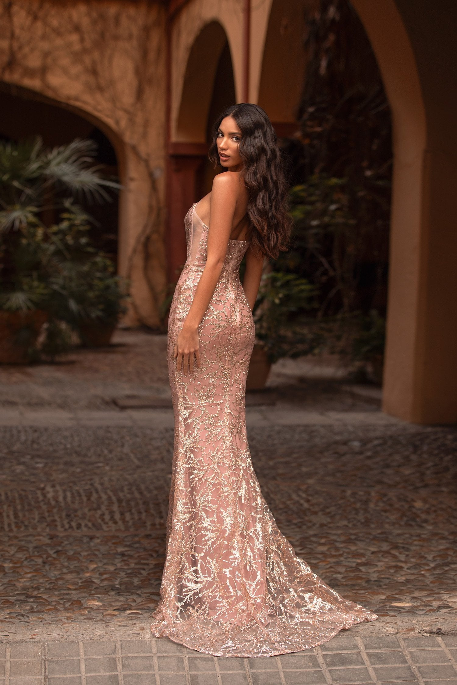 Pamelia - Pink Strapless Glitter Gown with Straight Neckline & Train