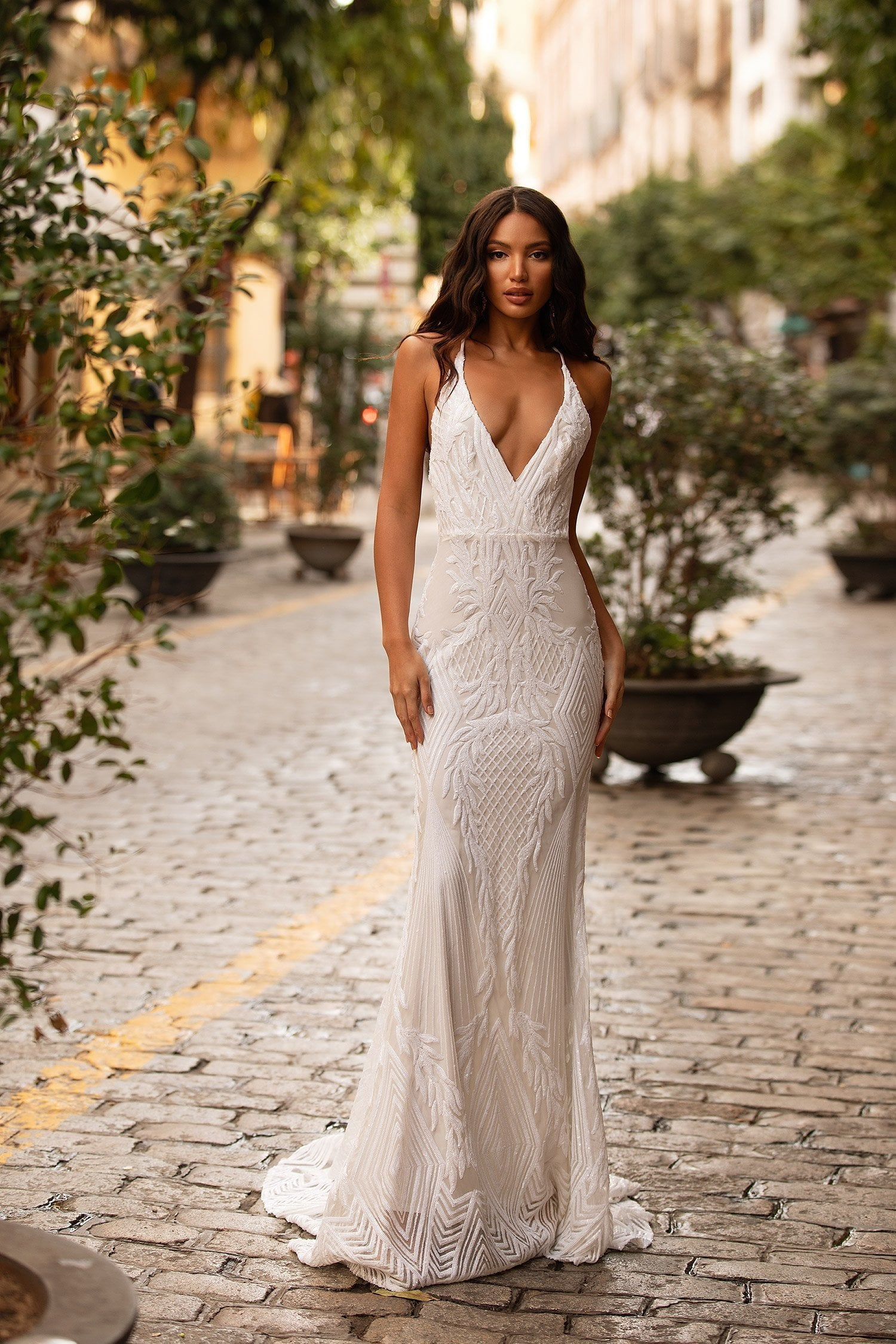 Luvena - White Sequin Gown with Plunge Neck, Criss-Cross Back & Train