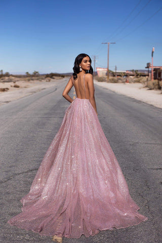 A&N Luxe Electra - Rose Gold Glitter A-Line Backless Plunge Neck Gown