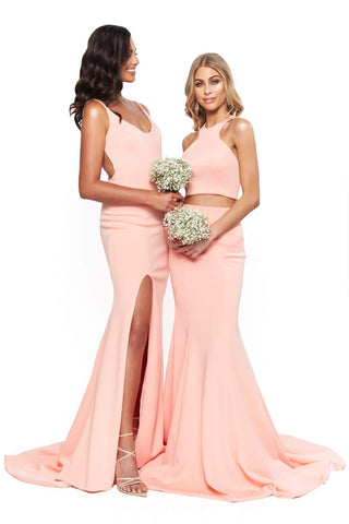 A&N Bridesmaids Delilah Two Piece with Lace-Up Back - Peach