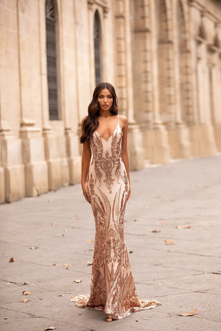 Analia - Rose Gold Patterned Sequin Gown with Plunge Neckline