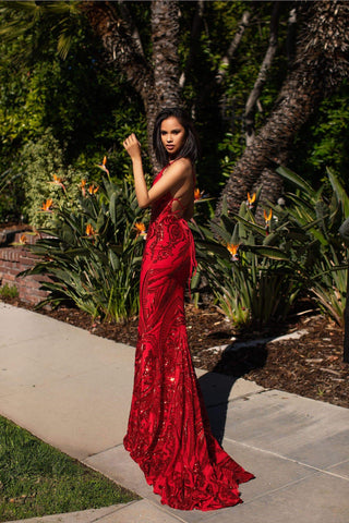 A&N Luxe Ciara Gown - Red Sequins V Plunge Neckline With Lace Up Back