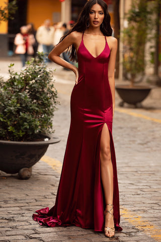 Lusila - Burgundy Satin Gown with Plunge Neck, Slit & Lace-Up Back