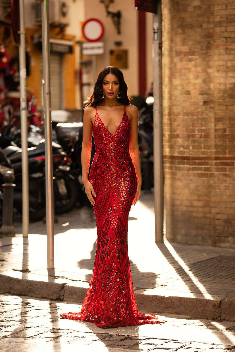 Lulita - Red Patterned Sequin Mermaid Gown with Plunge Neckline
