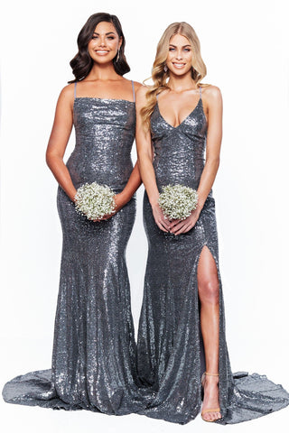 A&N Bridesmaids Esmee - Gunmetal Sequin Mermaid Gown with Lace-Up Back