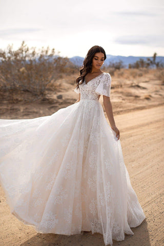 A&N Lyra - White Lace & Tulle Gown with V-Neck and Short Sleeves