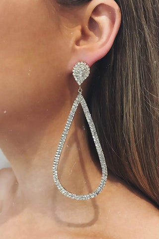 Glazori Danica Silver Teardrop Earrings with Crystals