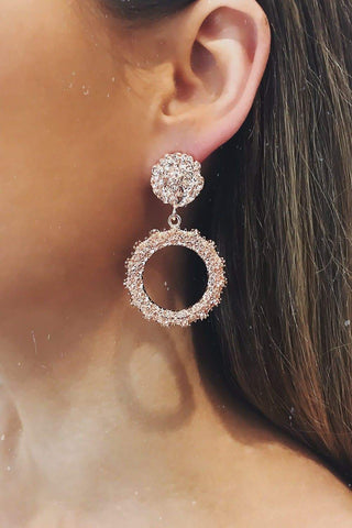 Glazori Felicity Rose Gold Textured Circle Drop Earrings