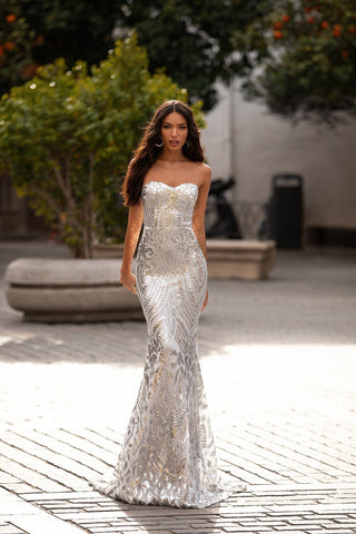 Malisa - Silver Strapless Sequin Gown with Sweetheart Neckline & Train