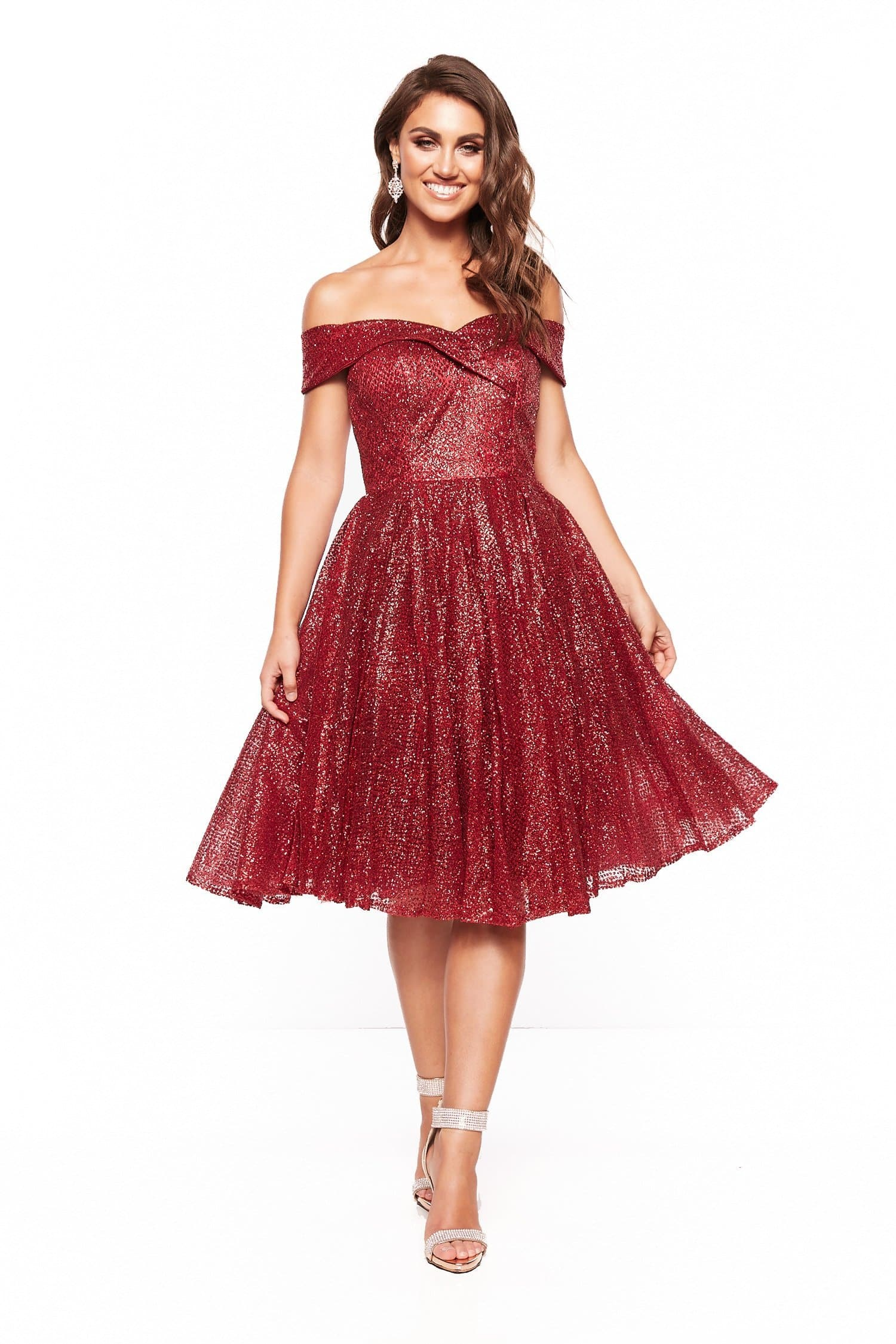 A&N Nyla Glitter Cocktail Off Shoulder Midi Dress - Burgundy