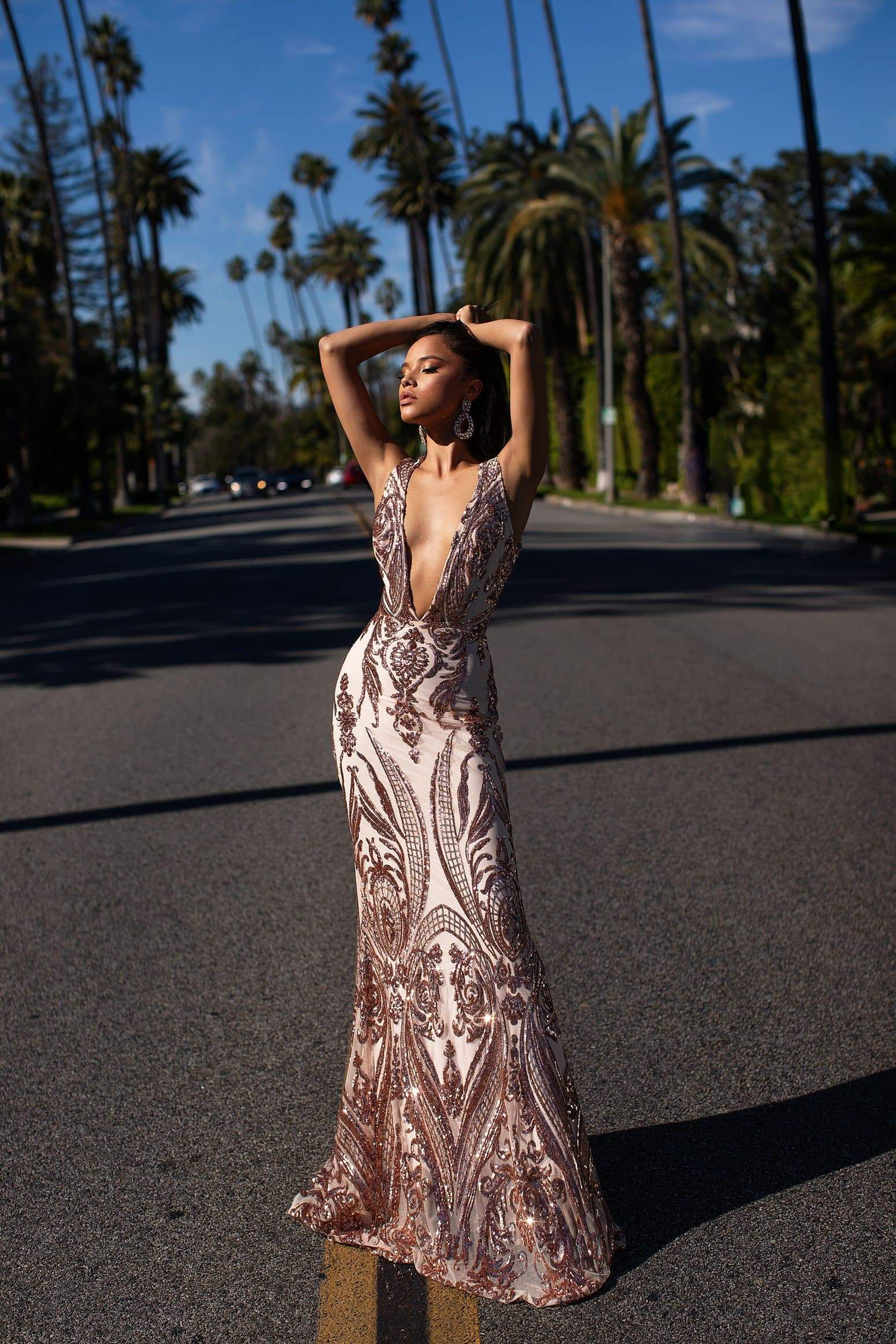 A&N Luxe Maurita Gown - Rose Gold Sequins V Plunge Neckline Prom Gown
