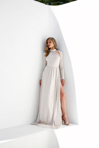 Liliya - Oyster Jersey Gown with Halter Neckline & Long Sleeves