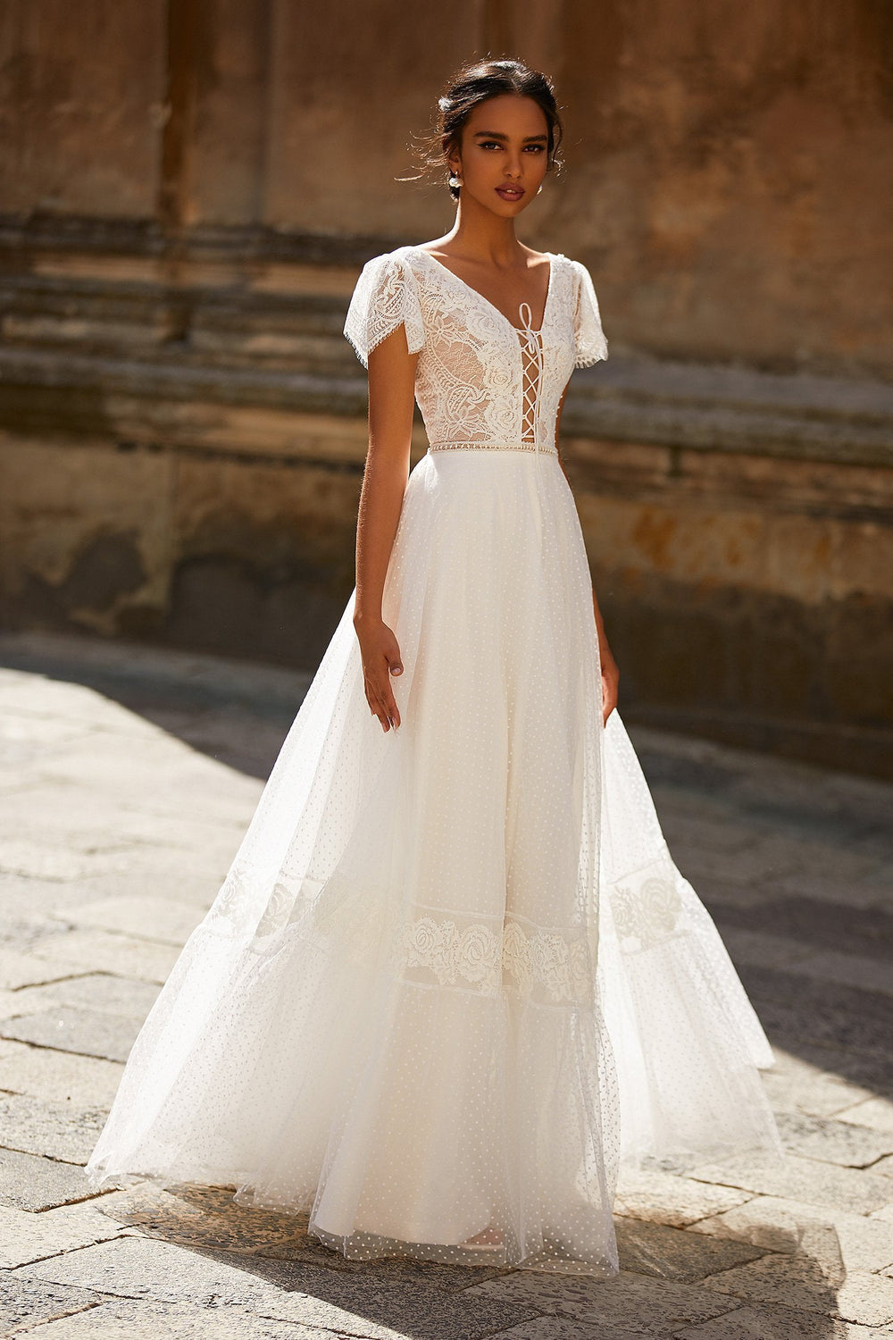 A&N Odila - White Lace Boho Bridal Short Sleeve Gown with Lace-Up Back