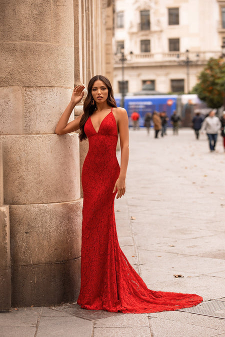 Levina Sequin Gown - Red